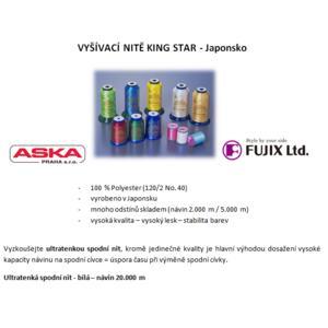 Vyšívací nitě KingStar - výrobce FUJIX, Ltd. - kontaktujte nás pro konkrétní odstíny